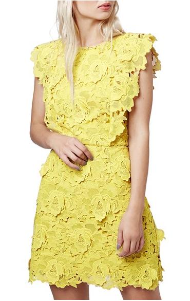 Topshop lace yellow dress