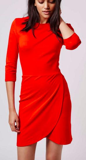 Topshop Wrap Front Clean Bodycon Dress