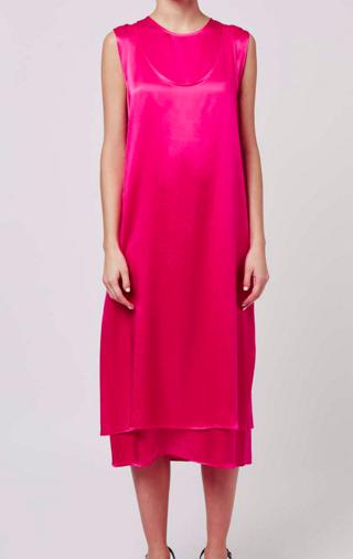 Topshop hot pink satin dress