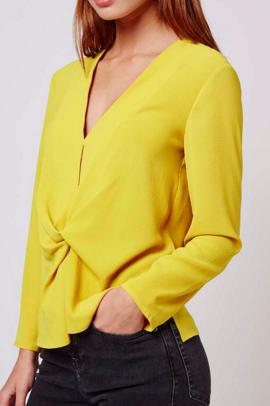 Topshop yellow drape top