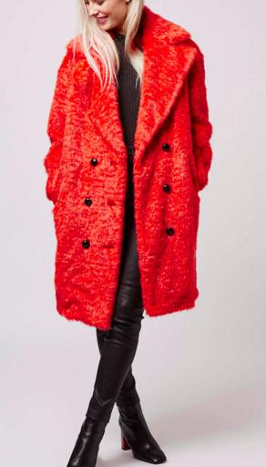 Topshop faux fur neon coat