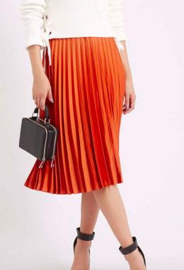 Topshop orange pleated skirt