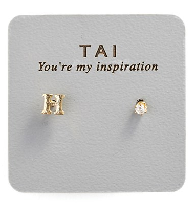 Tai Initial & Cubic Zirconia Stud Earrings