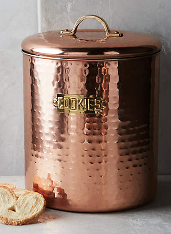 Hammered copper cookie jar