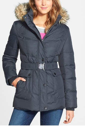 DKNY 'Hayley' Faux Fur Trim Hooded Belted Quilted Jacket