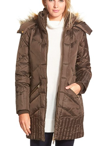 Sam Edelman 'Kate' Faux Fur Trim Hooded Down & Feather Fill Coat