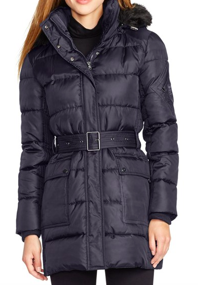 Lauren Ralph Lauren Faux Fur Trim Belted Down & Feather Fill Coat