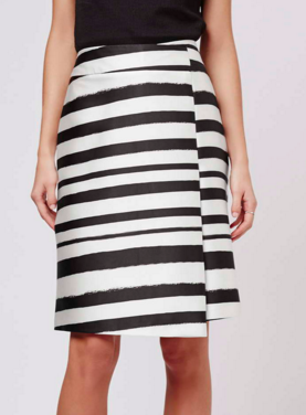 Topshop Striped Wrap Front Midi Skirt