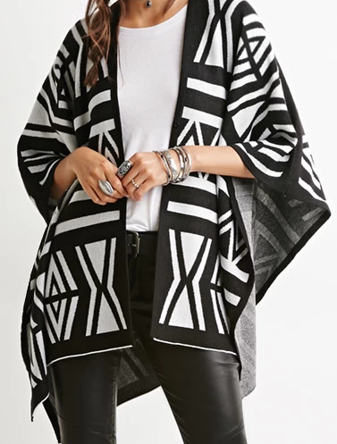Forever 21 Tribal-Inspired Pattern Dolman Cardigan