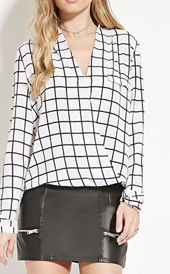Forever 21 Grid-Patterned Crepe Blouse