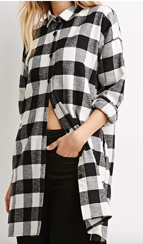Forever 21 black and white plaid shirt