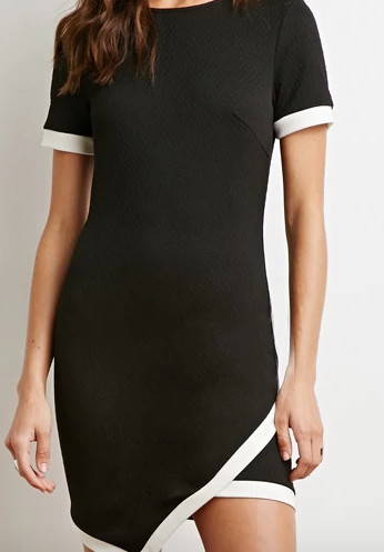 Matelassé Contrast Trim Dress