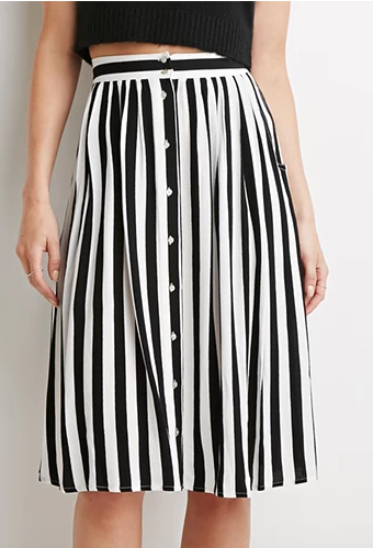 Forever 21 black and white striped skirt