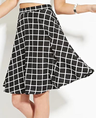 Forever 21 Grid Print A-Line Skirt