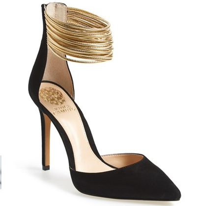Vince Camuto black and gold pumps