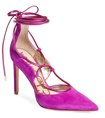 Sam Edelman pink tie up pumps