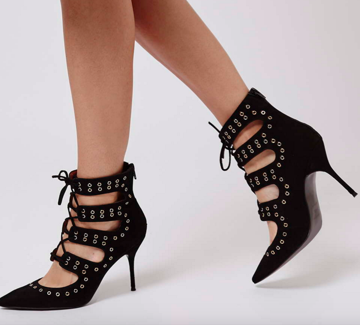 Topshop studded lace up pumps