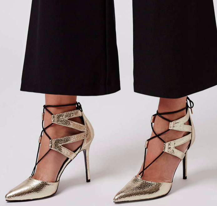 Topshop gold lace up pumps