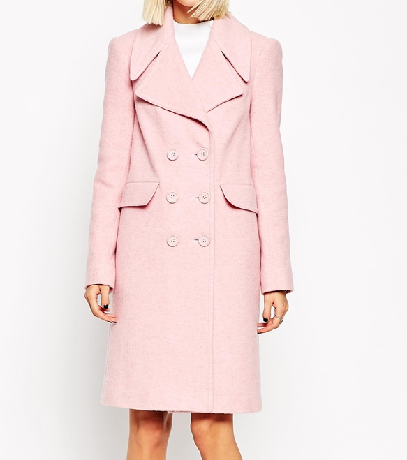 Asos double breasted pink coat