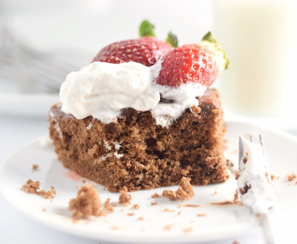 Amazing Fluffy Chocolate Cake: fluffy, soft, airy chocolate cake with a creamy chocolate frosting, whipped cream, and strawberries. Perfect for Valentine's Day! | TrufflesandTrends.com