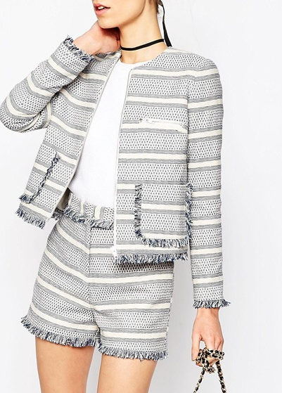 ASOS Jacquard Blazer with Zip and Fringe Detail Co-ord
