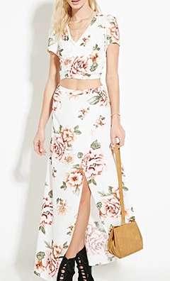 Forever 21 floral top and maxi skirt twosie set