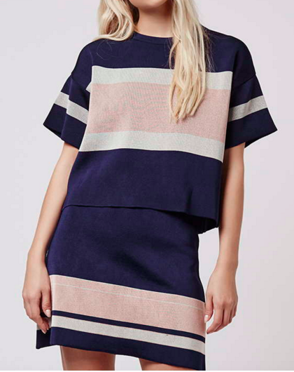 Topshop stripe tee and skirt twosie set