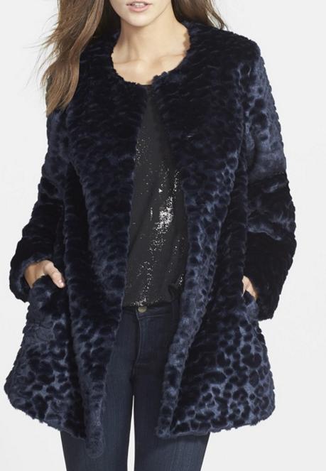 Sam Edelman 'Charles' Leopard Jacquard Faux Fur Topper