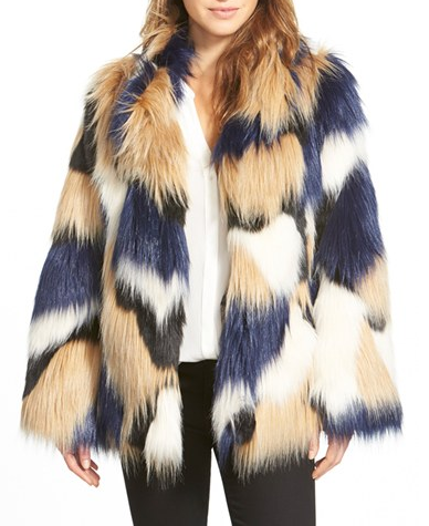 Trina Turk 'Makayla' Patchwork Faux Fur Coat