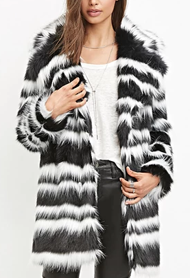 Forever 21 Striped Faux Fur Coat