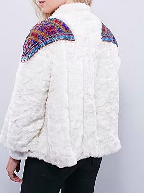 Free People patch faux fur coat