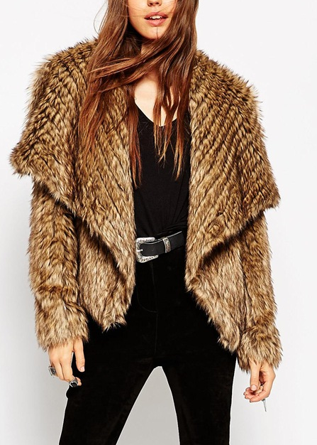 ASOS Jacket With Waterfall Front In Pelted Faux Fur