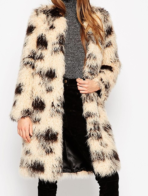 ASOS Coat In Shaggy Faux Fur