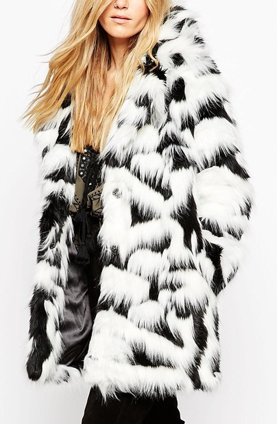 ASOS Coat In Mono Faux Fur