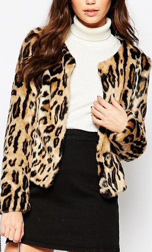 Helene Berman Cow Print Chubby Fur Coat