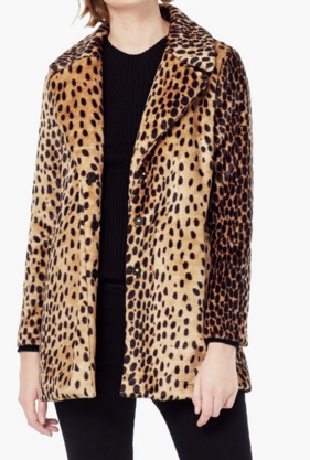 Club Monaco Leopard faux fur coat
