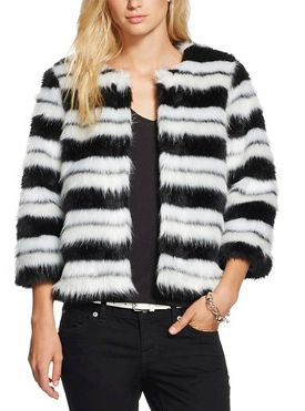 Women's Striped Faux Fur Jacket - WDNY