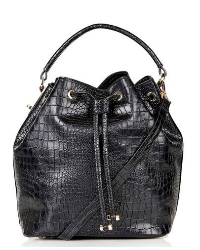 Topshop Croc Embossed Bucket Bag