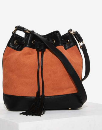 Just Say Bucket Suede Bag