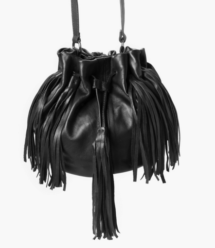 Mango Fringed leather bucket bag