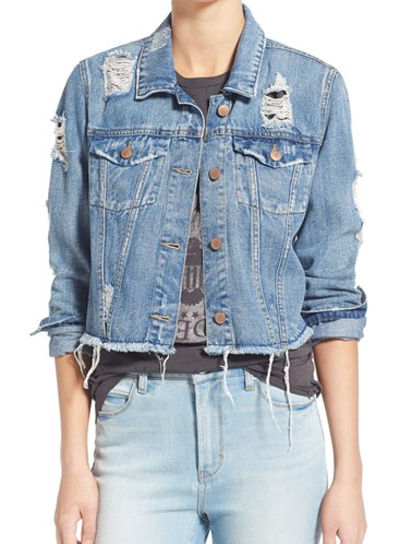 Tinsel distressed denim jacket