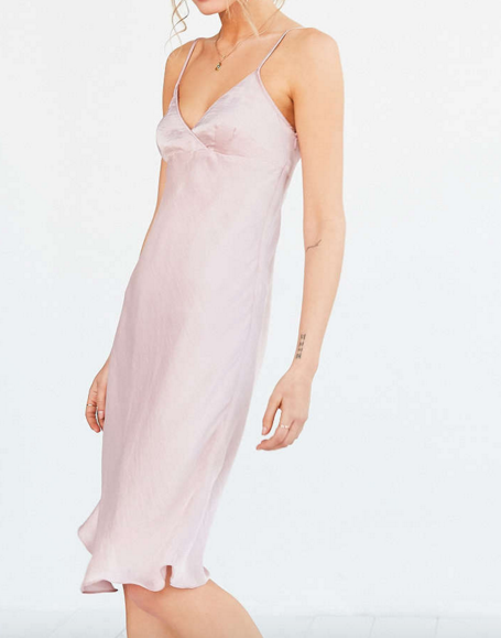 Silence + Noise Alicia Satin Midi Slip Dress
