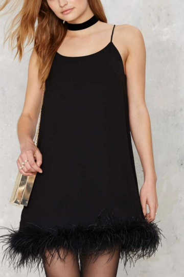 Nasty Gal feather trim slip dress