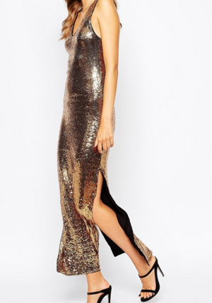 Vila Sequin Low Back Maxi Dress