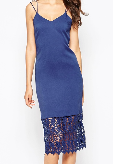 True Decadence Tall Cami Dress With Lace Hem