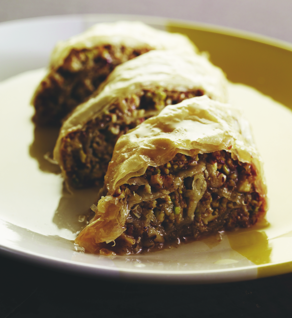 "Halvah Baklavah - this sticky, sweet, delicious Middle Eastern pastry made with phyllo sheets, crushed nuts, and a honeyed syrup is straight out of Susie Fishbein's cookbook, ""Kosher by Design Brings it Home."" 