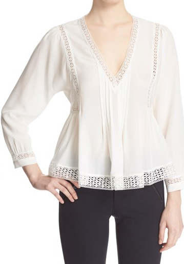 Rebecca Taylor Long Sleeve Lace Inset Top