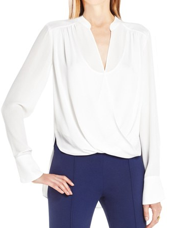BCBG draped white blouse