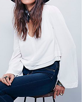 FP crop white blouse