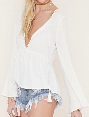 Forever 21 Crochet-Trimmed Open Back Top
